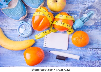 healthy lifestyle concept with fruits Blank notebook, pen. Weight loss concept