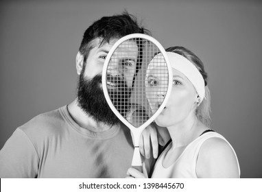 Healthy lifestyle concept. Man and woman couple in love with tennis racket sport equipment. Workout and fitness. Girl and guy play tennis. Couple tennis players. This game is more than hobby.