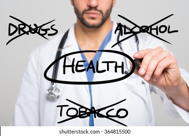 Healthy lifestyle concept: no smoke, alcohol and drugs