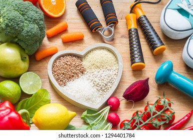 Healthy lifestyle concept with vegetarian food heart diet  fitness and medicine