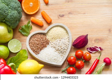 Healthy lifestyle concept with vegetarian food in  heart diet  background