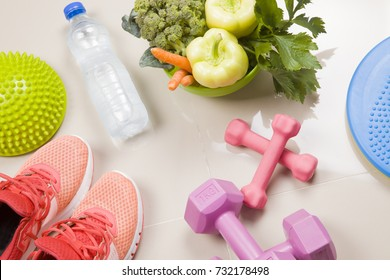 Healthy lifestyle, food, sport or athlete's equipment on bright background. 
