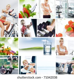 Healthy lifestyle  theme collage composed of different images