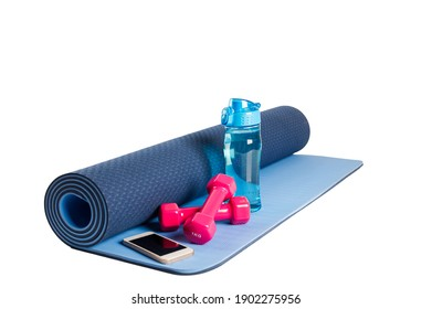Healthy lifestyle Water of bottle and sport equipment isolated on white background.