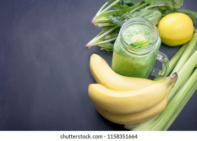 Healthy lifestyle.Useful cocktails.The preparation of green smoothies.Copy space