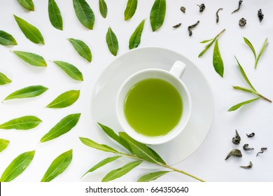 Healthy Light Green Tea Cup with Fresh Green Leaves Flat Lay