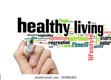 Healthy living concept word cloud background
