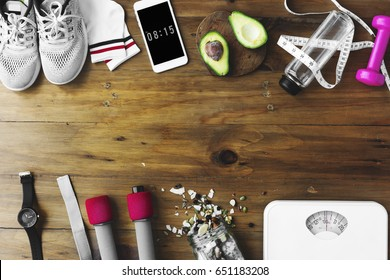 Healthy Living Lifetsyle Exercise Stuff on Wooden Table