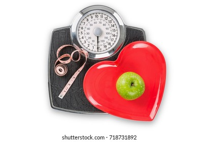 Healthy living scales concept isolated on white with clipping path.