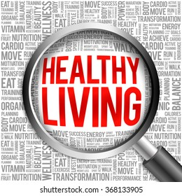 Healthy Living word cloud with magnifying glass, health concept