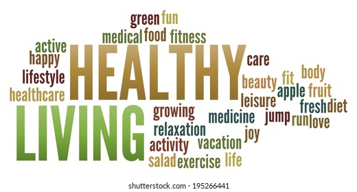 Healthy Living  in word collage