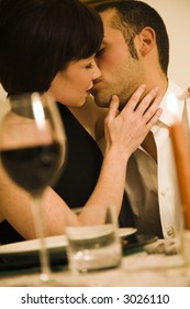healthy living: young couple in love dining out