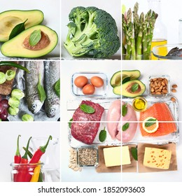 Healthy low carbs food.. Ketogenic diet concept. Food Collage.