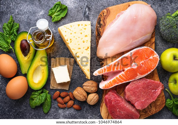 Healthy low carbs products. Ketogenic diet concept. Top view