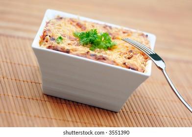 Healthy low-calorie vegetarian lasagna.