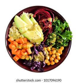 Healthy lunch bowl with quinoa, avocado, chickpeas, vegetables. Top view. Isolated on a white background. Healthy eating concept.