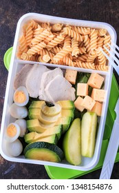 Healthy Lunch Box with noodles, avocado, cucumber, chicken and eggs. Bento Box Food. Cold school lunch box for picky eaters.