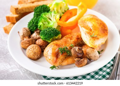 Healthy lunch - chicken fillet, mushrooms, broccoli and paprika. Selective focus. Copy space