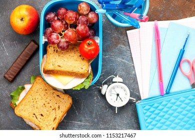 Healthy lunch in container. School concept. Top view