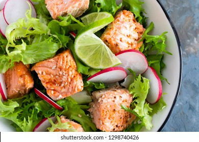 Healthy lunch salad with baked salmon fish, fresh radish, lettuce and lime. Top view