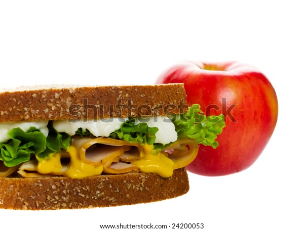 A healthy lunch for school, and people on the go.  Shot on white background.