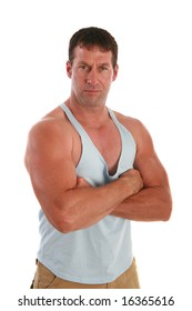 Healthy Male at 40s with Strong Arm Portrait on Isolated White Background