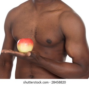 Healthy man with apple over white background