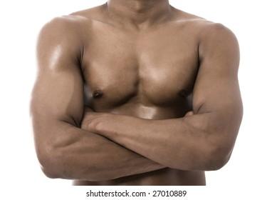 healthy man torso close up portrait on white