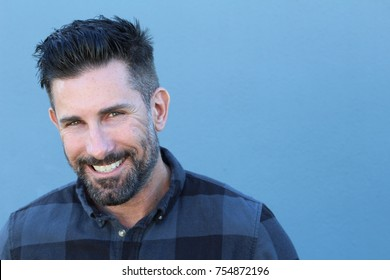 Healthy mature man smiling close up with copy space