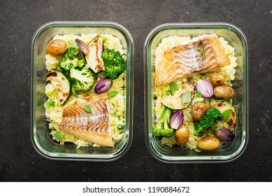 A healthy meal for a snack is a lunch box. Glass containers with fresh steam sea fish, rice with turmeric, fresh vegetables, olives, broccoli. Top View