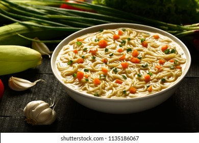 Healthy meal-Tasty  chicken soup noodle.Asian cuisine.