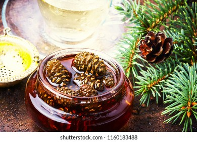 Healthy medicinal jam from pine cones for tea.Natural Medicine