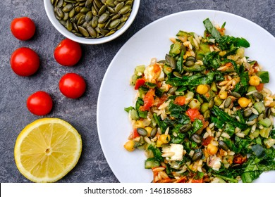 Healthy Mediterranean Orzo Pasta Salad With Feta Cheese, Chickpeas And Spinach