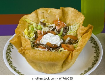 Healthy mexican meal, grilled beef and vegetables taco salad on plate