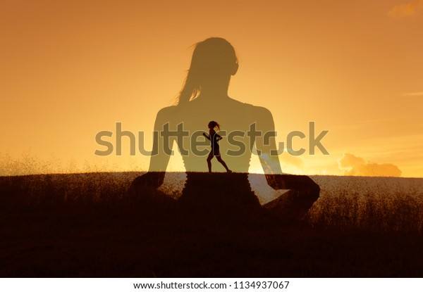 Healthy mind body and spirit. Wellness and health concept. Double exposure.