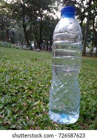 Healthy Mineral Water Bottle at Fresh Green Grass