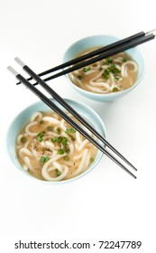 Healthy Miso Soup with Noodles and Chopped Green Onions