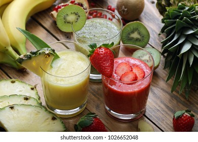 Healthy mixed fruit smoothies