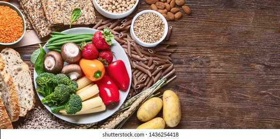 Healthy natural ingredients  containing  dietary fiber. Healthy high fiber diet eating concept with antioxidants and vitamins.  Panorama, banner with copy space