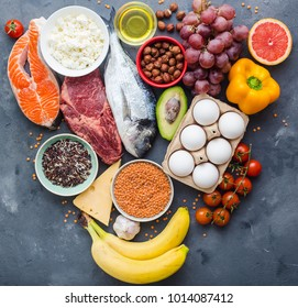 Healthy nutrition concept. Balanced healthy diet food chart. Meat, fish, vegetables, fruit, beans, dairy products. Top view. Cooking ingredients. Organic food. Clear eating. Healthy food idea