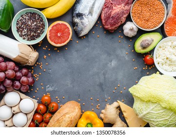Healthy nutrition concept. Balanced healthy diet food background. Meat, fish, vegetables, fruit, beans, dairy products. Space for text. Top view. Cooking ingredients. Organic food. Clear eating
