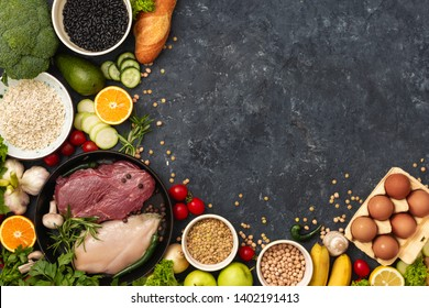 Healthy nutrition ingredients top view different a diet food copy space