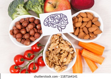 Healthy nutritious eating as source natural vitamin and minerals, concept of best food for brain health and good memory