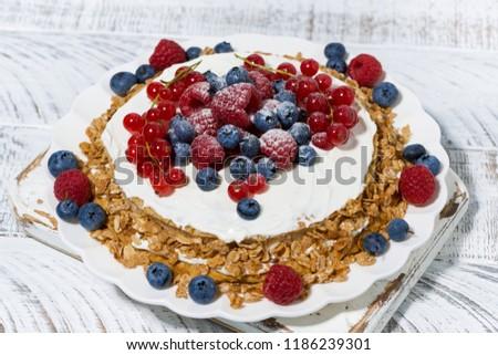 Healthy Oatmeal Cake With Yogurt And Fresh Berries Top View