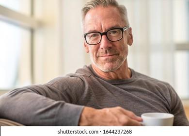 Healthy older man drinking coffee.