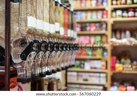 Healthy organic food and bio store interior
