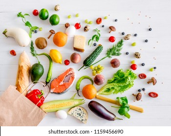 Healthy organic nutritious diet. Plenty of foods are taken off from the kraft package
