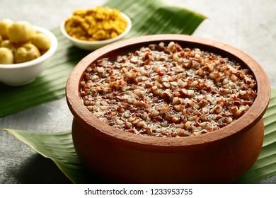 Healthy organic red rice soup- congee- vegan diet food.