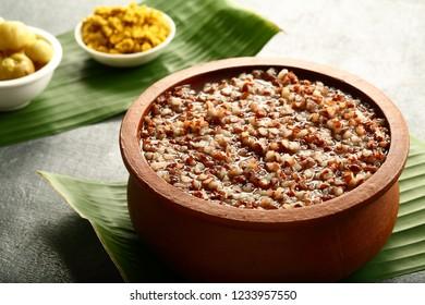 Healthy organic vegan dietary food- red rice soup,congee.