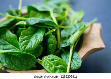Healthy organic young baby spinach leaves closeup in wooden bowl